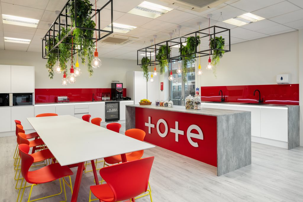 Red office kitchen space
