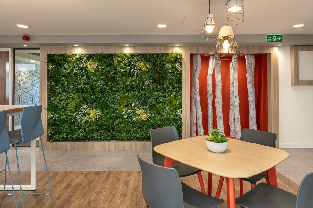 Office with plant wall