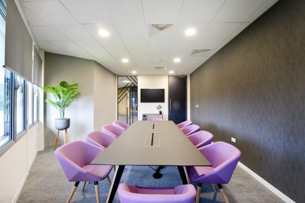 Purple office meeting room colour scheme