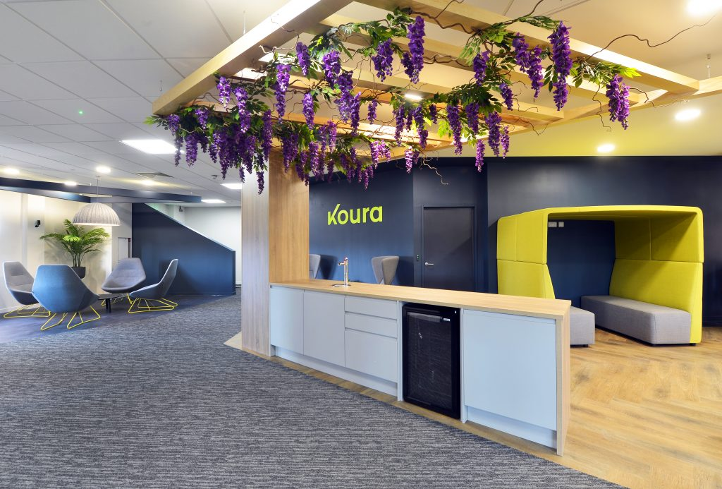 Office space with plant ceiling