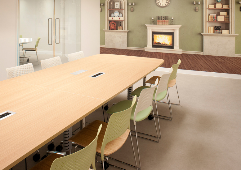 Meeting room with large table and fireplace wallpaper