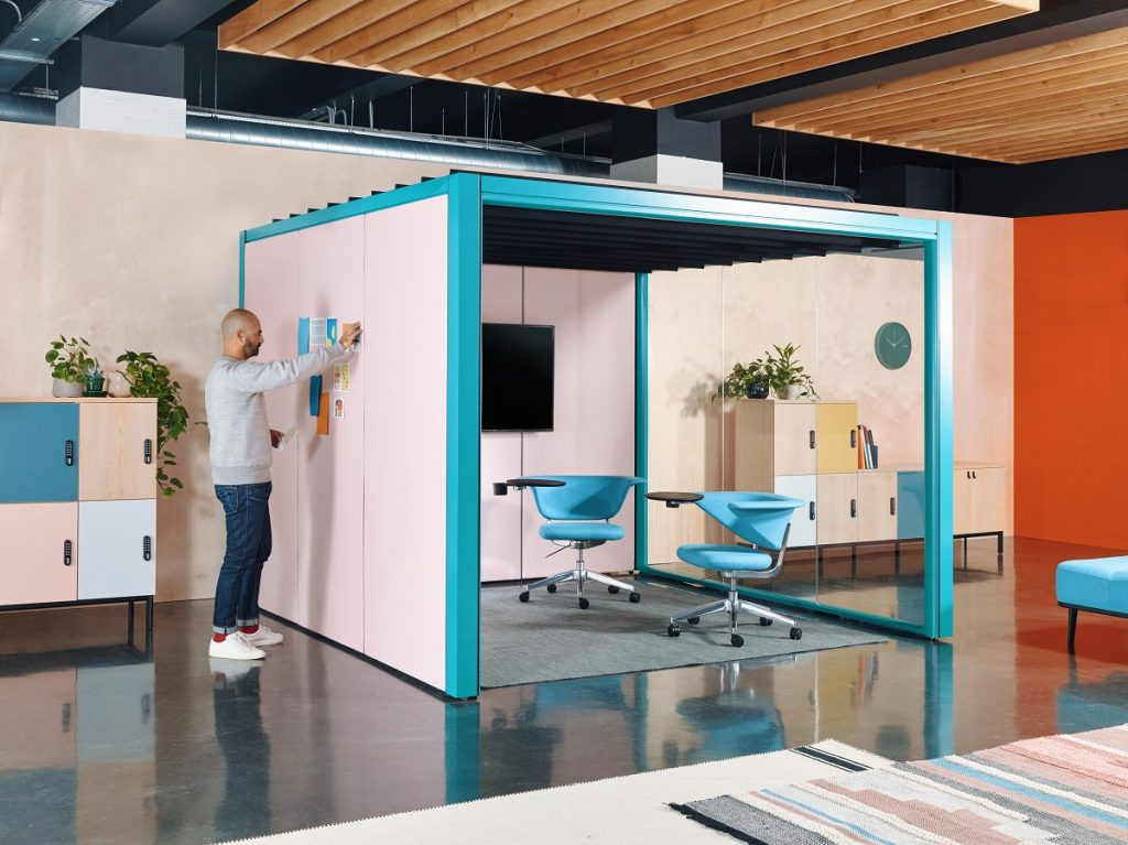 Blue and pink office pod