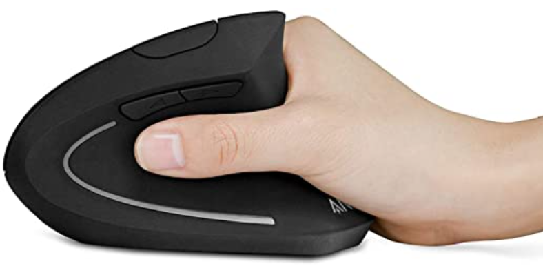 Ergonomic mouse with hand holding the mouse between the thumb and fingers