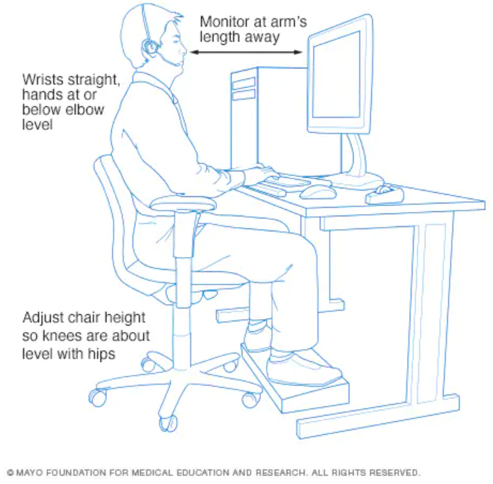 Healthy work station example with good workplace ergonomics